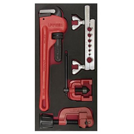 Juego de llave stillson, cortatubos y avellanador 3 piezas URREA CH125